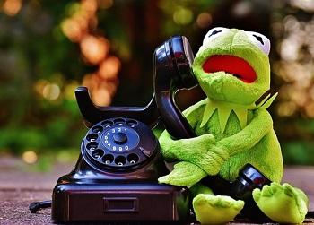 電話をかけるカエル